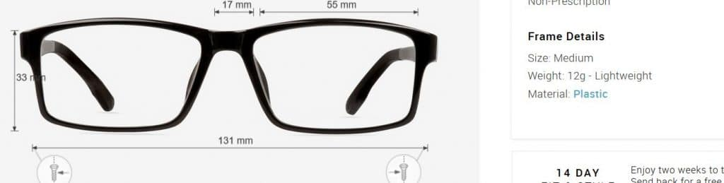 specifictaions eyebuydirect